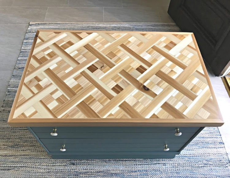 Tips and how to video for this beautiful DIY Wood Mosaic Table Top. These steps can be used to make this as geometric wood wall art too!