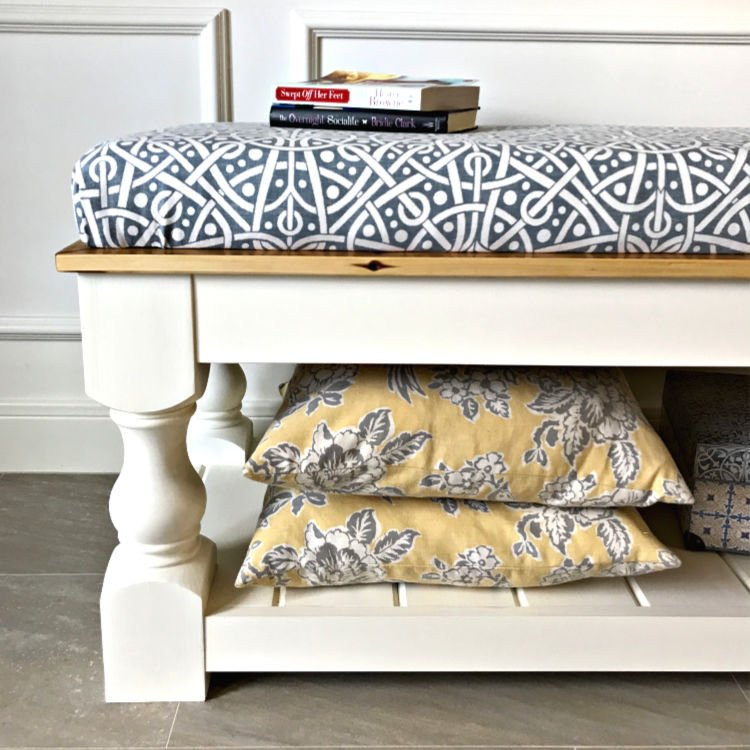 Step by Step Video and written steps for How to Make a No Sew Bench Seat for your window seat, table, or bench.