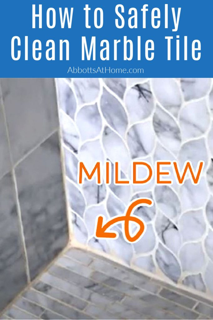 Easy to follow DIY steps for How to Clean Marble Shower Tile, safely get rid of that gross pink mold and mildew, and seal your marble. With How-To Video and DIY Marble Tile Cleaning Steps.