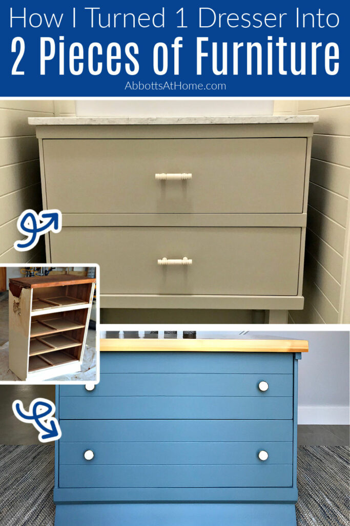 How to cut a dresser in half to make 2 new pieces of furniture. This is how I built Toy Storage and a Vanity out of this $25 Dresser. How to cut furniture in half. Furniture Makeover Ideas - Before and After Pictures