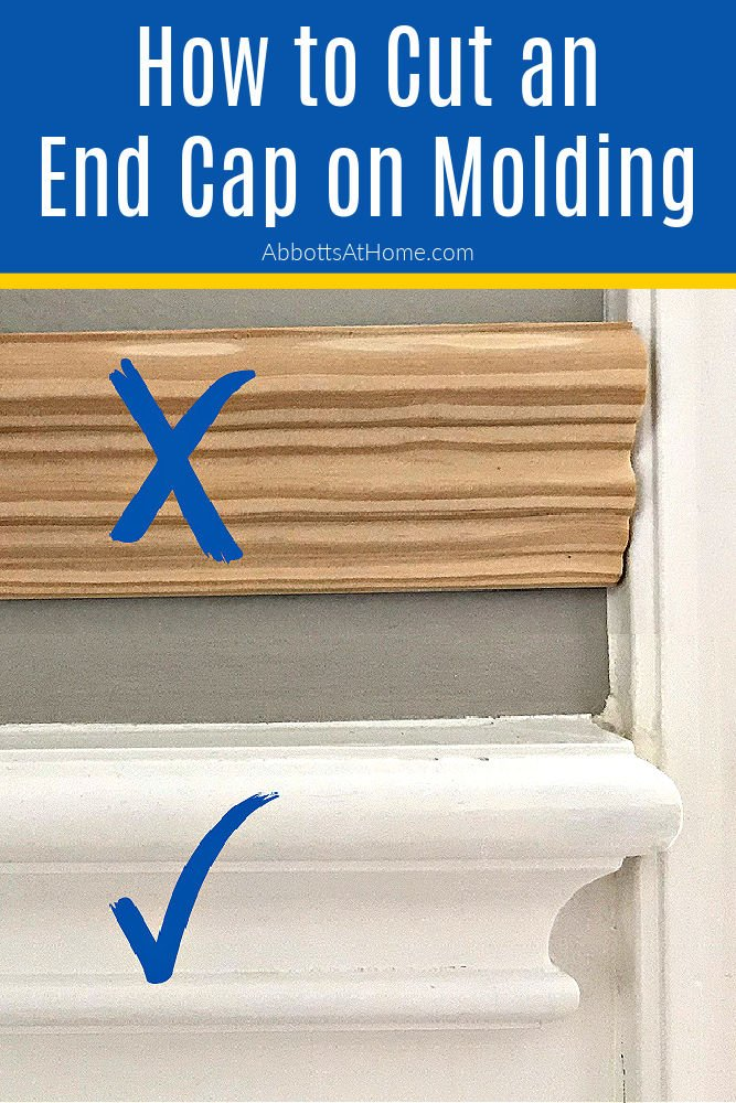 How to Cut An End Cap for Molding, like Chair Rail. This easy DIY puts a pretty end where molding meets doors or windows or ends on a wall. DIY End Cap for Chair Rail, Picture Rail, Baseboards, Quarter Round and other molding.
