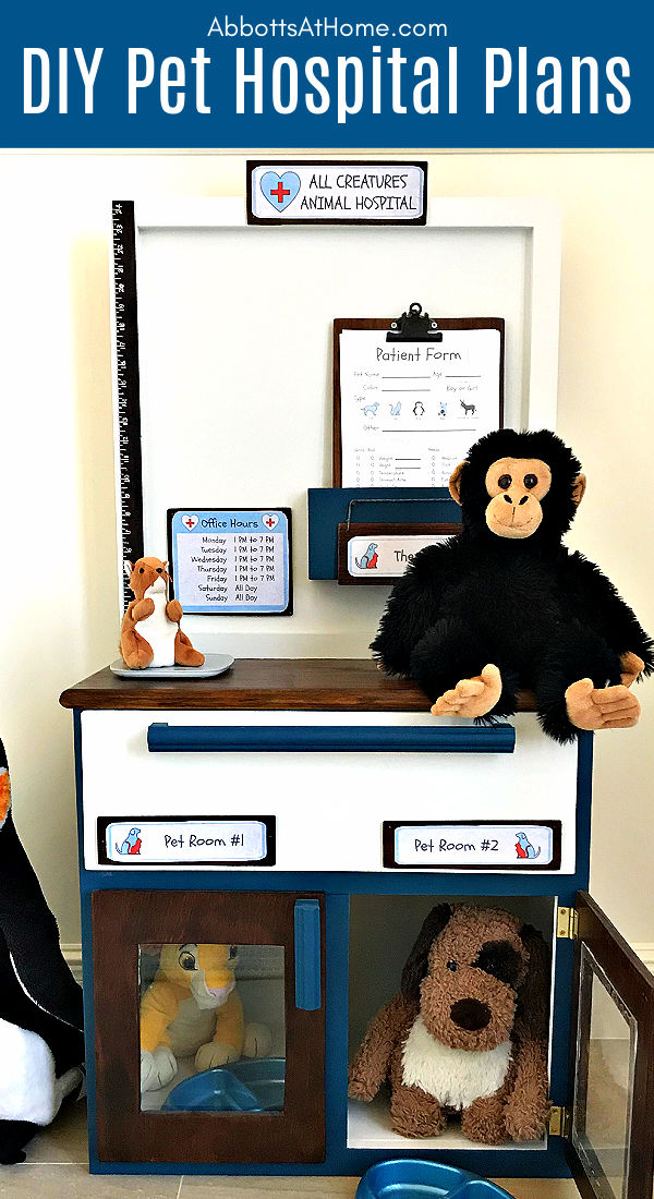 Make your kids this sweet little DIY Play Animal Doctor Office with this easy to follow beginner woodworking build plan. This DIY Kids Play Pet Hospital has been a popular playset with our little veterinarians, this year. Printable Pet Clinic Signs, Patient Forms, and Build Plans Available. Make your kids this sweet little DIY Play Animal Doctor Office with this easy to follow beginner woodworking build plan. This DIY Kids Play Pet Hospital has been a popular playset with our little veterinarians, this year. Printable Pet Clinic Signs, Patient Forms, and Build Plans Available. Pretend Play like Doc McStuffins.