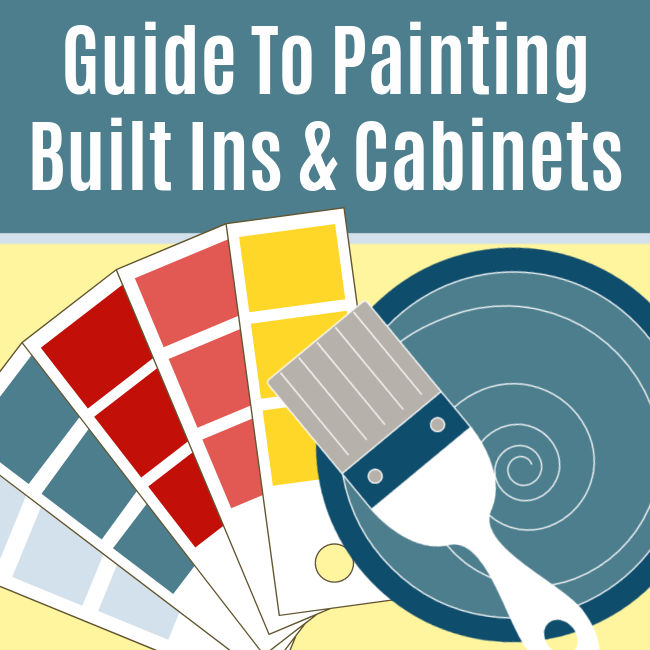 Easy to follow step by step guide for how to paint built in bookshelves and cabinets. With photos, printable steps and video tutorial. How to Paint Cabinets. How to Paint Bookshelves.