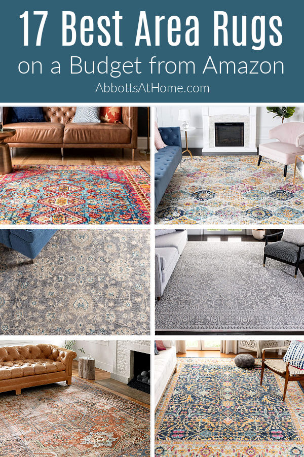 Did you know you can find low cost, beautiful, & durable rugs online? Here's my picks for the Best Area Rugs on a Budget for your floor! Living Room, Bedroom, Entry Way, Laundry Room, Kitchen, and Bathroom Area Rug Sizes.