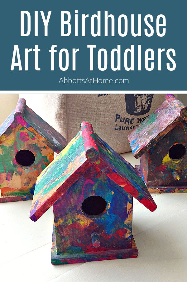 This DIY Kids Birdhouse Art for Toddlers is a fun, new way that your kiddo can get creative, have fun, and make cute artwork you can actually display on your shelves or office desk. This toddler craft idea is another great way to practice motor skills and a new sensory activity for toddlers.