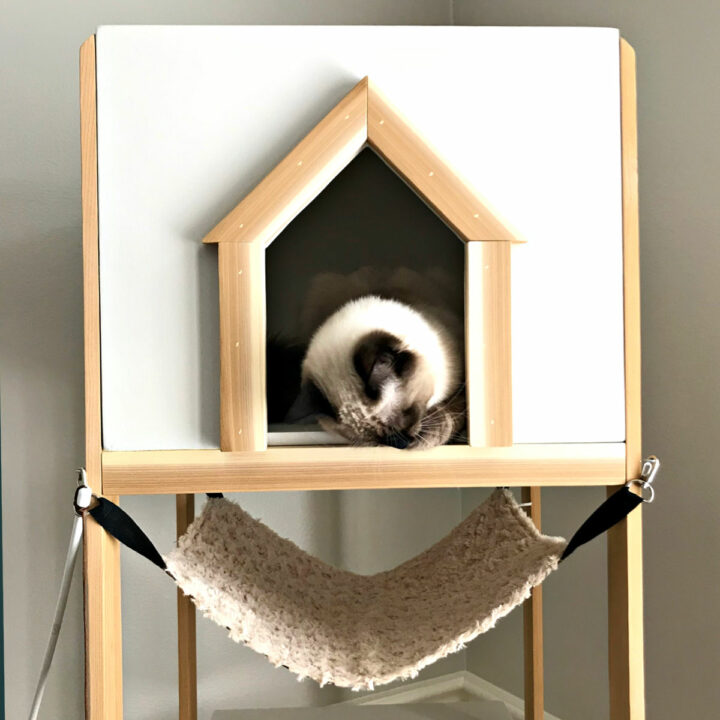 Here's a quick and easy woodworking project for cat lovers. I love how this DIY Cat Tree Wood House - Cat Tower turned out. And, it's a lot cheaper and prettier than those store bought Cat Tree's! Cat Tree or Cat Tower Printable Build Plans.