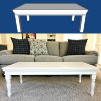 I LOVE the beautiful details on this easy and budget-friendly DIY Coffee Table Build Plan. Built with $10 Turned Legs, Molding & Plywood. Printable Woodworking Plans, easy enough build for beginner woodworkers. Easy woodworking project.