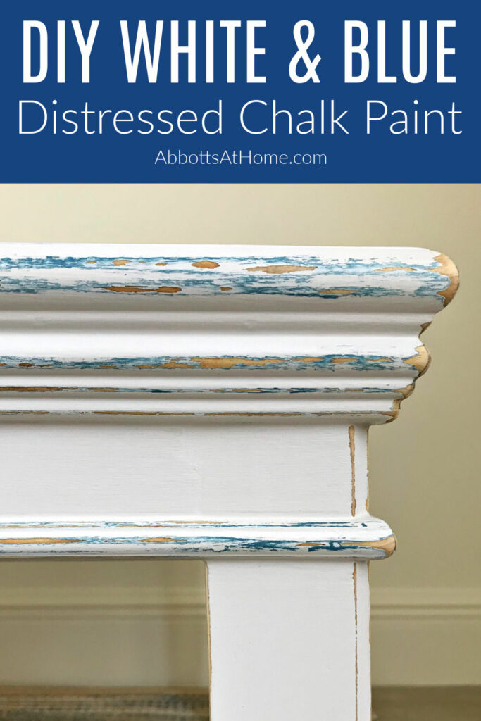 I LOVE this easy DIY White and Blue Distressed Chalk Paint Look. Here's the easy to follow steps and how to video to help you paint this look. A little bit of distressing on the furniture curves & corners adds so much character!