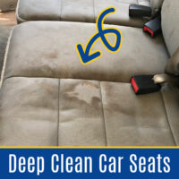 I LOVE these tips and tricks for the Best Way To Deep Clean Car Seats at home. Including which household products WORK and which one I AVOID. Printable Cleaning Guide.