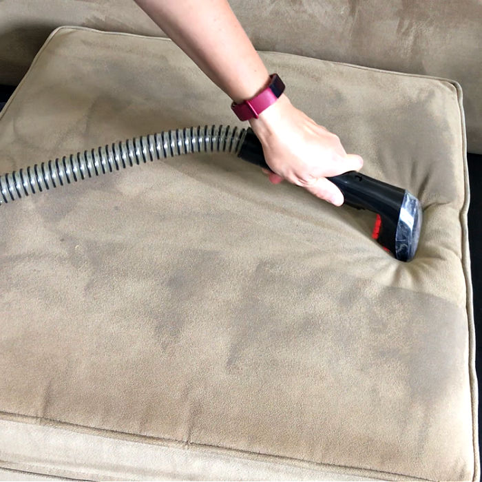 Here's How to Clean A Couch At Home, the Easy Way with my new favorite cleaner. This step by step guide works on spills and pet stains.