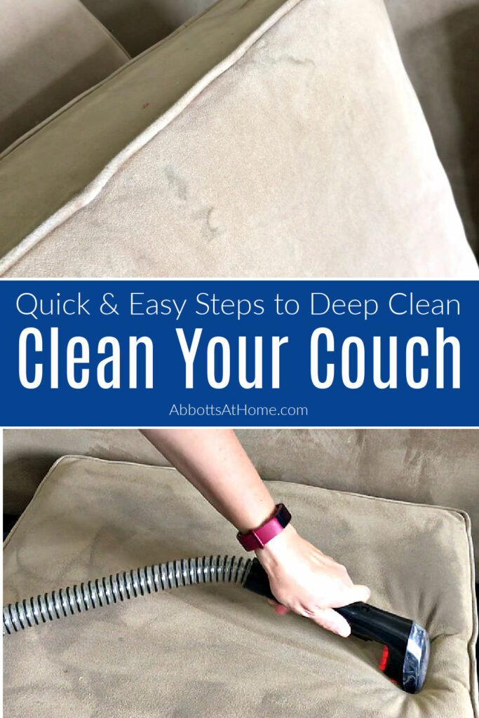 Here's How to Clean A Couch At Home, the Easy Way with my new favorite cleaner. This step by step guide works on spills and pet stains. Step by step guide to deep clean your couch.