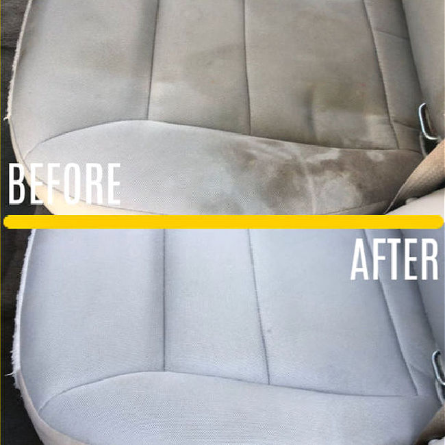 Before and After using a Bissell Portable Cleaner on Cloth Car Seats.