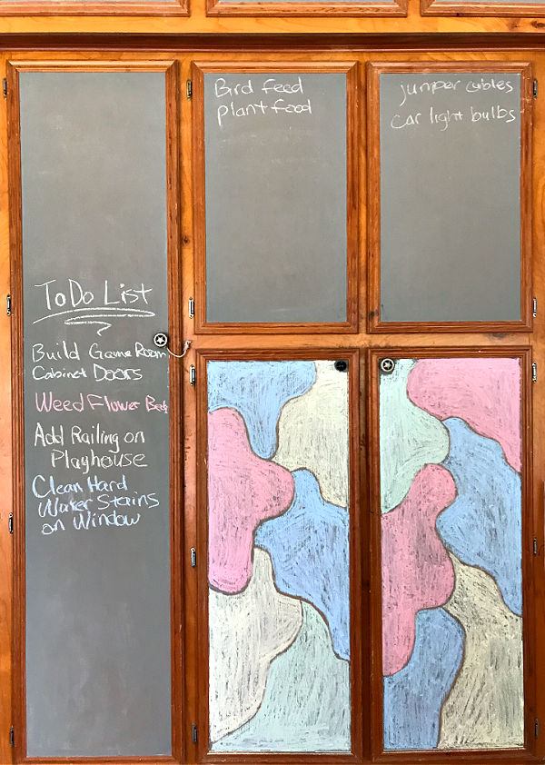 Can you use Chalkboard Paint on Cabinet Doors? Painting cabinets with DIY Chalkboard Paint looks great & It's a fun way to organize & label what's inside the cabinet! Or, you can use it to make a pretty chalkboard calendar, weekly menu, or family schedule and to do list.