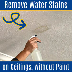 Drop the paint brush, guys. There's an easier way to get rig of ugly water stains. Here's How to Remove Water Stain from Ceiling Without Painting! How to Safely Use Bleach to Remove Brown Water Stains or Water Rings on drywall, plaster, or ceiling tiles.