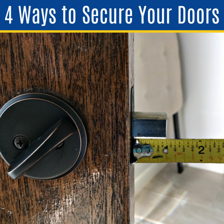 Improve your home security in just an afternoon with these Cheap and Easy DIY Home Security Updates for your Doors. No fancy tools required!