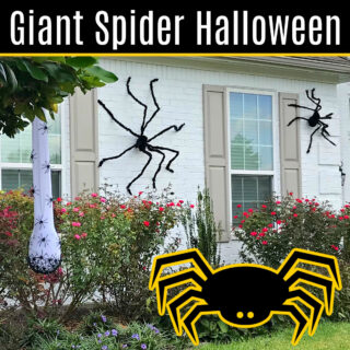 How to decorate your house with Giant Spiders for Halloween. I LOVE this CHEAP & EASY Halloween theme on our house! Here's how to hang giant spider decorations outdoors with tons of photos to help you get the look.